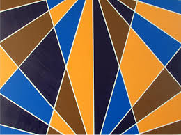 art deco painting intersect abstract geometric by bawartwork