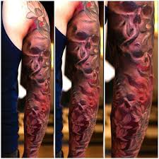 tattoo sleeve roses and skulls justin pinterest