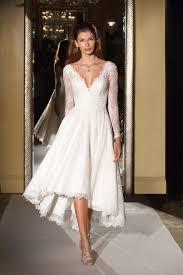 high low wedding dress with sleeves wedding dresses photos cwg770 by oleg cassini inside weddings