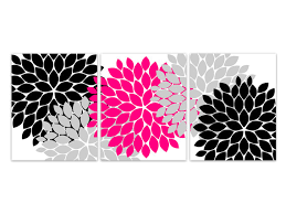 pink and black home decor home decor canvas wall art hot pink and black flower burst