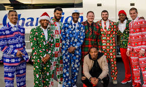 christmas suits look packers players don christmas suits on team plane the