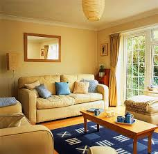 yellow room decorating sunny and happy designs blue pillows