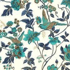 Curtains Birds Theme Teal Bird Curtains Aqua Floral Bird Organic Cotton Fabric Teal