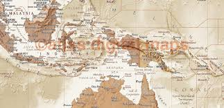 Self Adhesive Old World Map Rolled Canvas World Map Antique Style Sand Physical Political