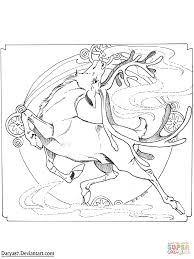 art nouveau reindeer coloring page free printable coloring pages