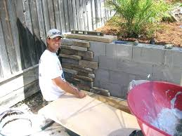 cinder block wall ideas covering cement blocks with rock facing
