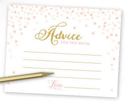 Advice Cards For Bride Pink And Gold Bridal Shower Advice For The Mr And Mrs Cards