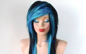 scene wig emo wig black turquoise long layered hairstyle