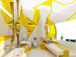 impressive yellow bathroom decor working with white and black