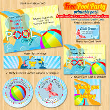 free printable pool birthday party pack contains party invitation