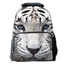 3d white tiger backpack for unique youth backbag