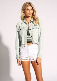 light blue cropped jean jacket jackets outerwear clothes