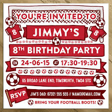 football themed personalised party invitations by a is for
