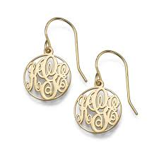 monogram earrings circle monogrammed earrings in 18k gold plating mynamenecklace