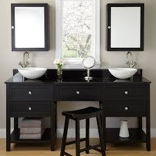 black wooden vanity with drawers and shelves plus white bowl sink