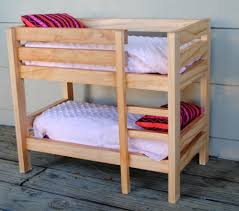 Hardwood Bunk Bed Handmade Stained Wooden 18 Inch Doll Bunk Bed By Bloomin
