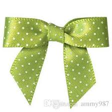 green gift bow pre green colour satin ribbon gift package bow with twist tie dhl