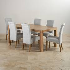 Alto Solid Oak Ft Dining Table With  Grey Fabric Chairs - Oak dining room set