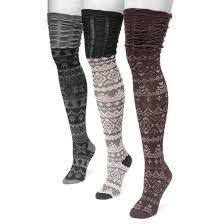 s muk luks 3pk microfiber the knee socks purple one