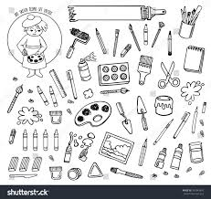 artist tools sketch hand drawn set stock vector 340343465