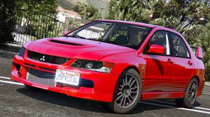mitsubishi evo 8 red mitsubishi lancer evolution ix mr add on gta5 mods com