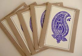 block printed note cards