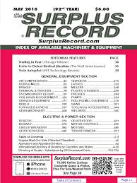 may 2016 surplus record machinery u0026 equipment directory