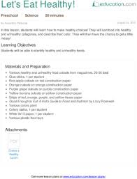 let u0027s eat healthy lesson plan education com