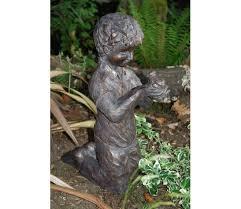 boy with frog resin garden ornament gardensite co uk