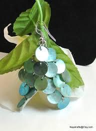 Abalone Shell Chandelier Blue Shell Chandelier Earrings Vintage Aqua Shell Earrings Abalone