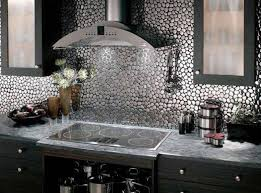 Metallic Tile Backsplash by Metal Backsplash For Kitchen Kitchentoday