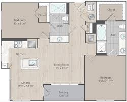 b2 two bedroom two bath floor plan at elan lindbergh elan