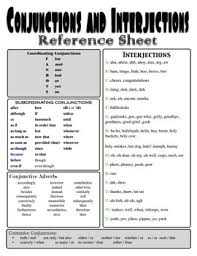 a simple handout with lists of interjections and four types of