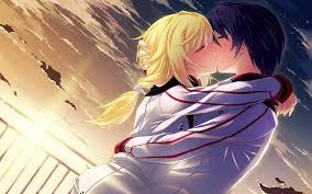 boy blonde hugging sunset best kawaii anime