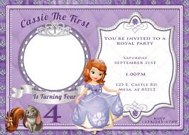 sofia the first invitation printable birthday party invite