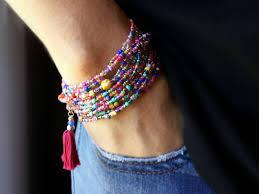 fiesta beaded wrap bracelet 87 long seed bead stretch
