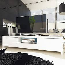 white high gloss tv unit stand with led lighting storage amazon