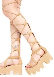 tan knee lace up platform sandals dolls kill