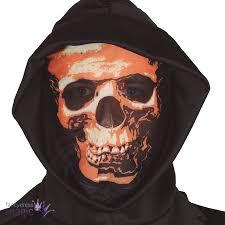 halloween 5 mask black hood mask see through face ghoul horror phantom fancy dress