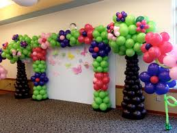 Blue Balloon Shape Flowers Closed Pink Balloon And Green Balloon