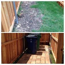 Backyard Garbage Cans by Muddy Area To Store Garbage Cans Paved Area For Garbage Cans