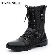 lace up moto boots tangnest autumn punk martin boots men fashion pu leather lace up