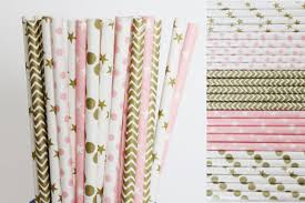 twinkle twinkle little star paper straws pink and gold first
