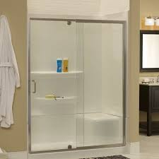 Single Frameless Shower Door Hazelwood Home Brock 54 X 69 Single Sliding Frameless Shower