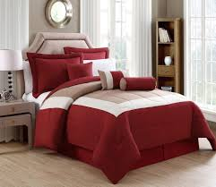 Red And Grey Comforter 7 Piece Rosslyn Red Taupe Comforter Set