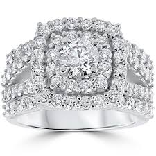 Engagement Wedding Ring Sets by 10k White Gold 3ct Tdw Diamond Double Halo Trio Bridal Ring Set