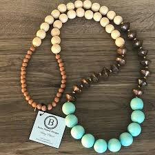 wood necklace designs images Betsey pittard designs jewelry tan brown and turquoise wood bead jpg