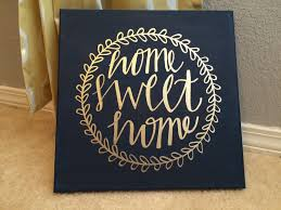 home sweet home blue and gold home decor wall art painting