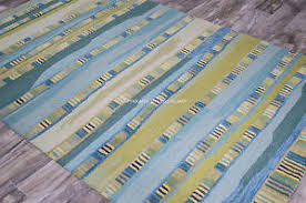 Designer Wool Area Rugs 5x8 Designer Coastal Stripe Contemporary Aqua Green Hannah Wool