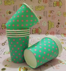 200pcs colourful dot paper drinking cups 7oz paper cups disposable
